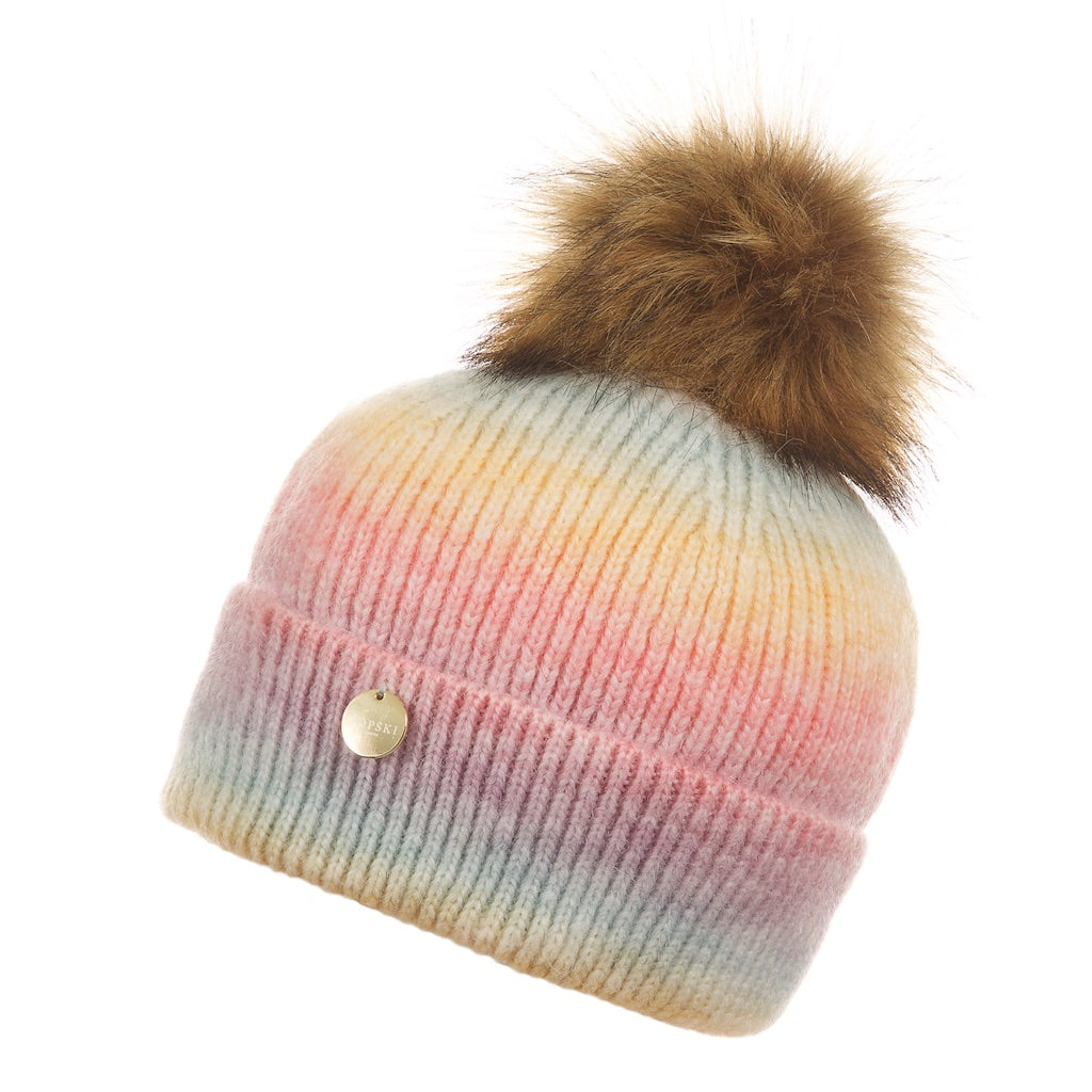 Faux Fur Rainbow Pom Pom Hat