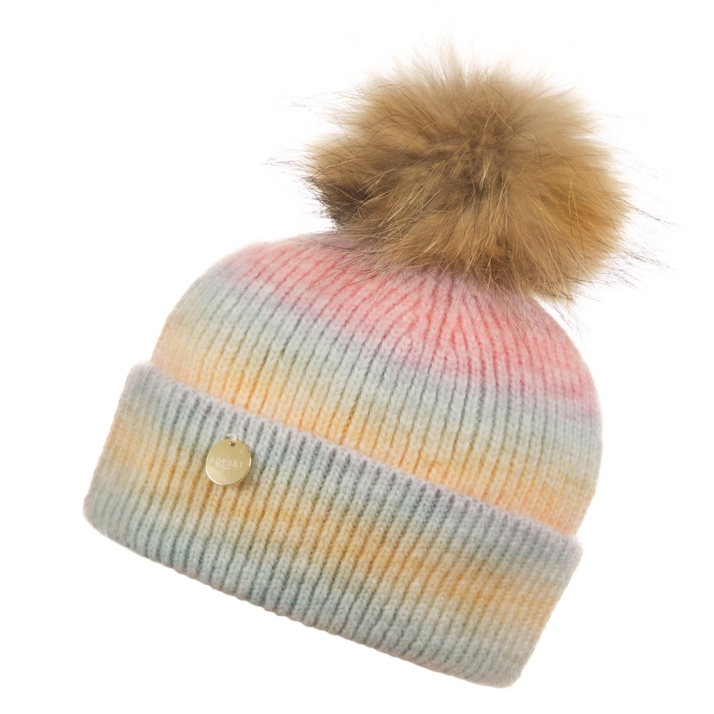 Raccoon Fur Rainbow Pom Pom Hat