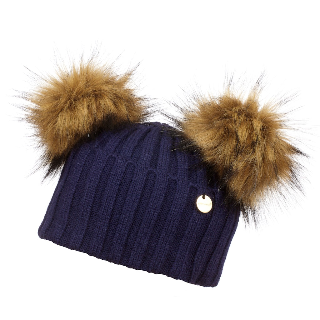 Double Faux Fur Pom Pom Hat Navy with Faux Natural Pom Pom