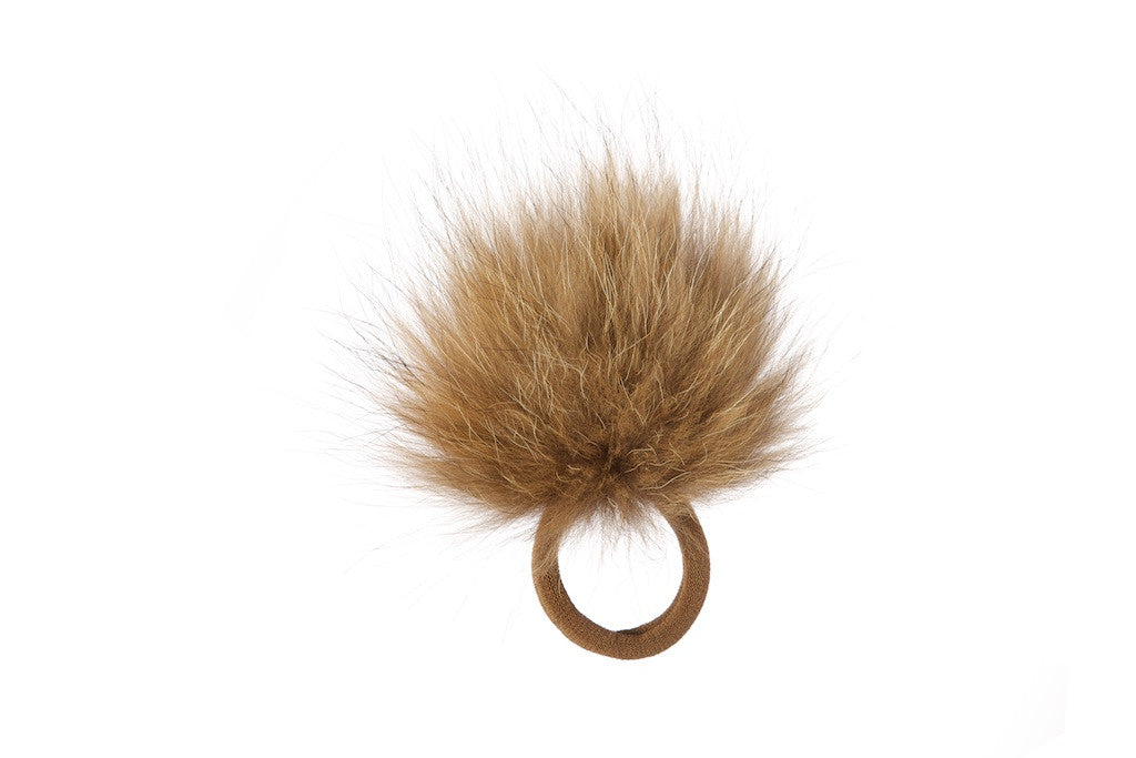 Vintage Fox Fur Hair Pom Pom - Natural
