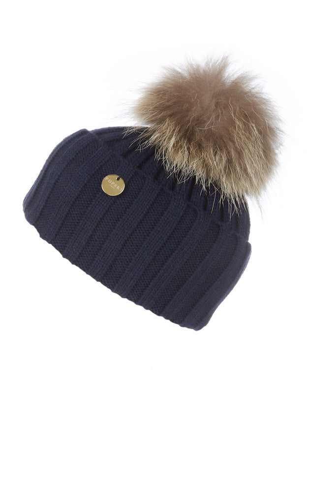 16ee14bda6c Raccoon Fur Pom Pom Hat Navy with Natural Pom Pom