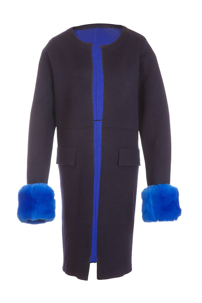 Popski London Fur Cuff Cardigan Navy/Blue