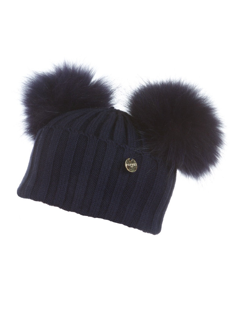 Double Raccoon Fur Pom Pom Hat Navy