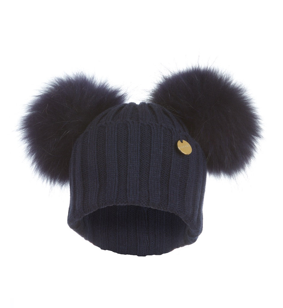 Double Raccoon Fur Pom Pom Hat Navy – Popski London d0abda559