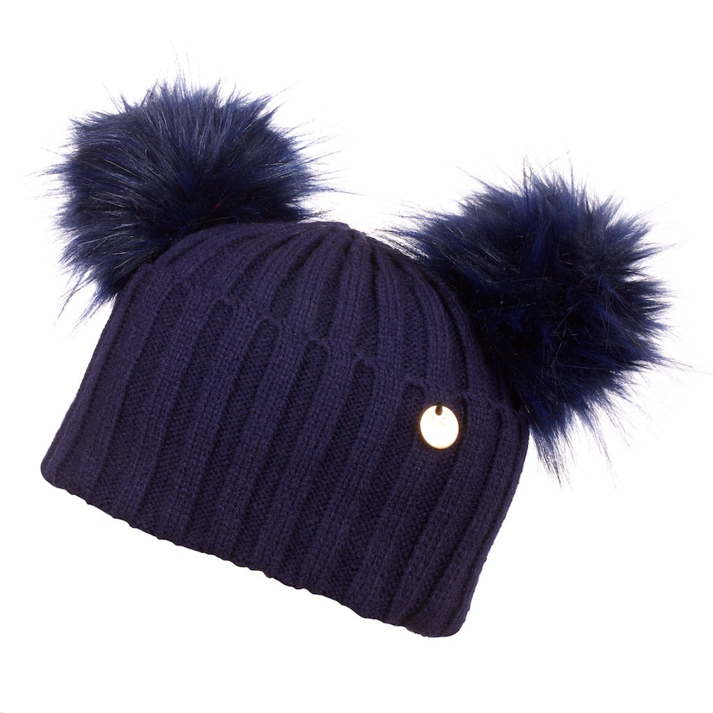 Double Faux Fur Pom Pom Hat Navy with Navy Pom Pom