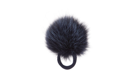 Vintage Fox Fur Hair Pom Pom - Blue