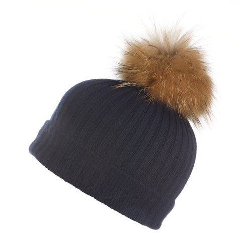 Popski London Navy Cashmere Fur Pom Pom Hat Natural