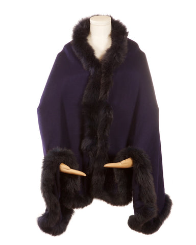 Cashmere Fur Trimmed Scarf Navy with Matching Trim