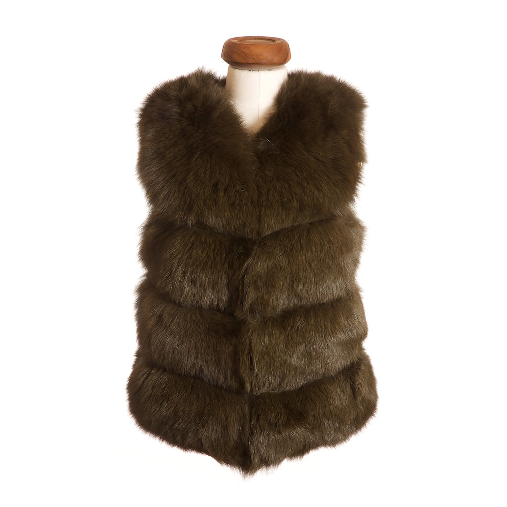 Chelsea Fox Fur Gilet in Army Green