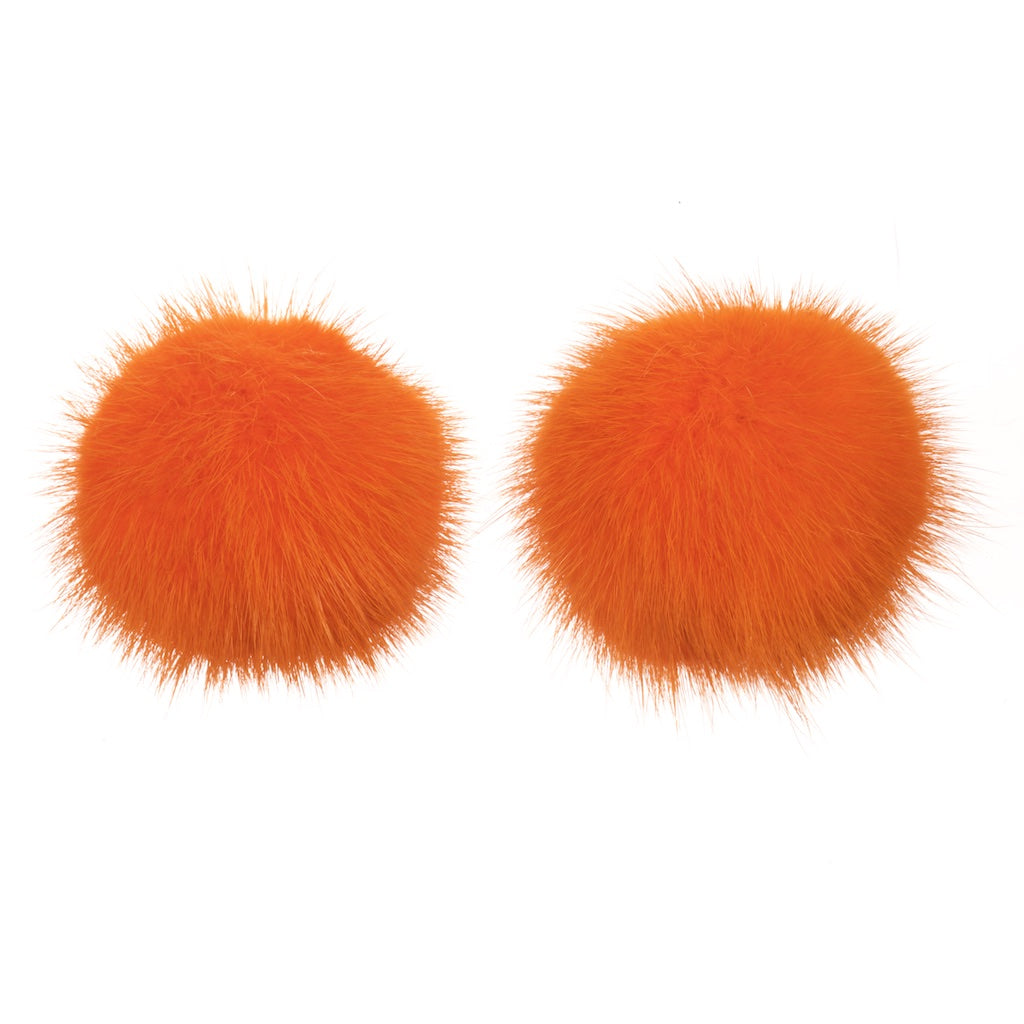 Mink Shoe Pom Poms - Orange