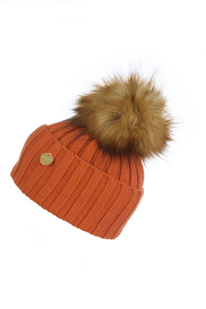 Faux Fur Pom Pom Hat - Burnt Orange