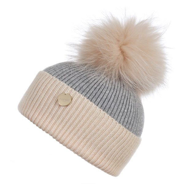Mini Popski Angora Beige and Whisper Grey Faux Fur Pom Pom Hat