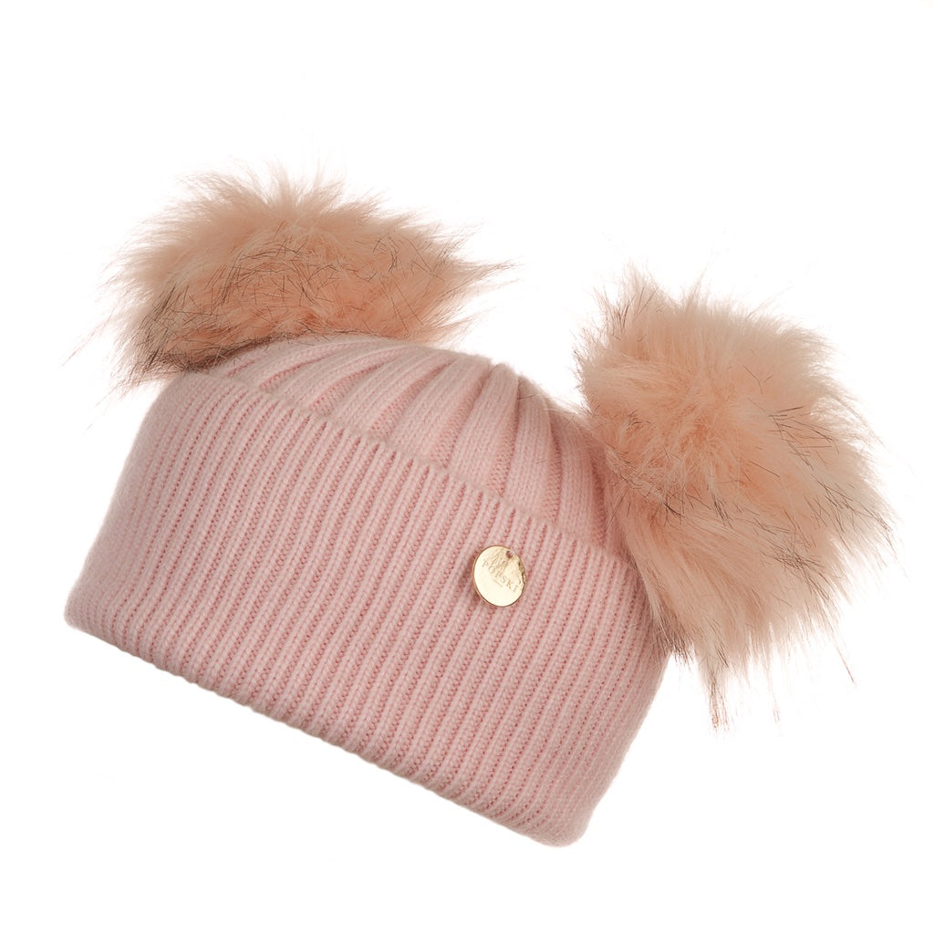 Mini Popski Double Trouble Angora Pale Pink Faux Fur Pom Pom Hat