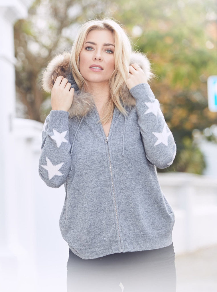Grey Cashmere Raccoon Fur Hooded Cardigan