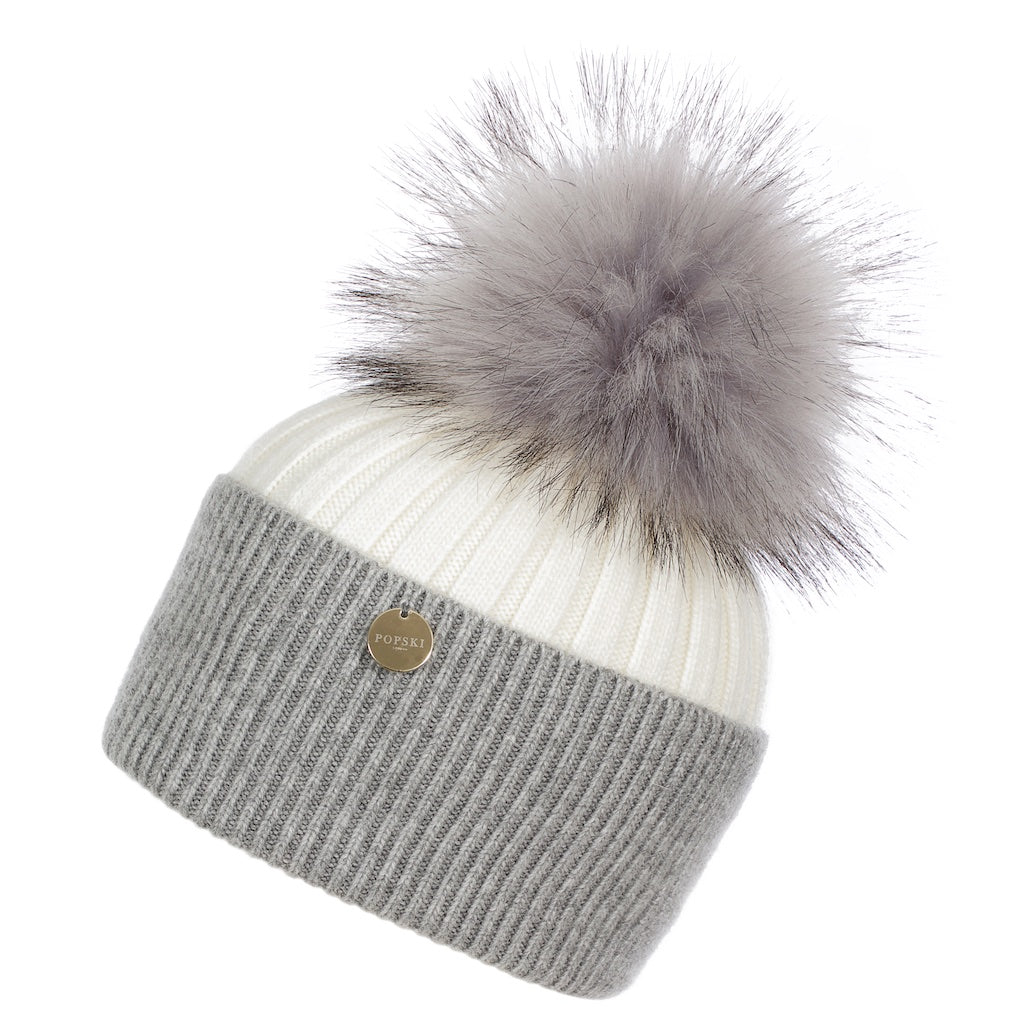 Faux Angora Pom Pom Hat - Cream/Whisper Grey