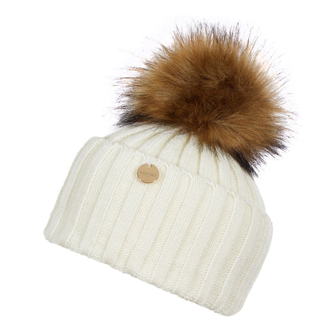 Faux Fur Pom Pom Hat - White