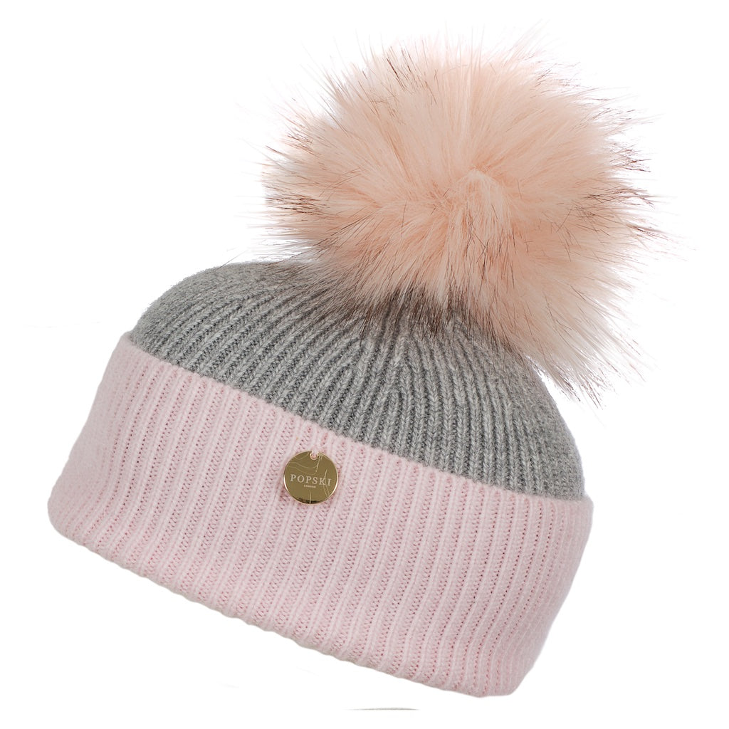 Mini Popski Angora Baby Pink and Whisper Grey Faux Fur Pom Pom Hat
