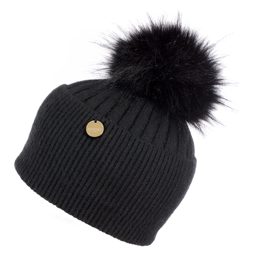 Faux Angora Pom Pom Hat - Black with Black