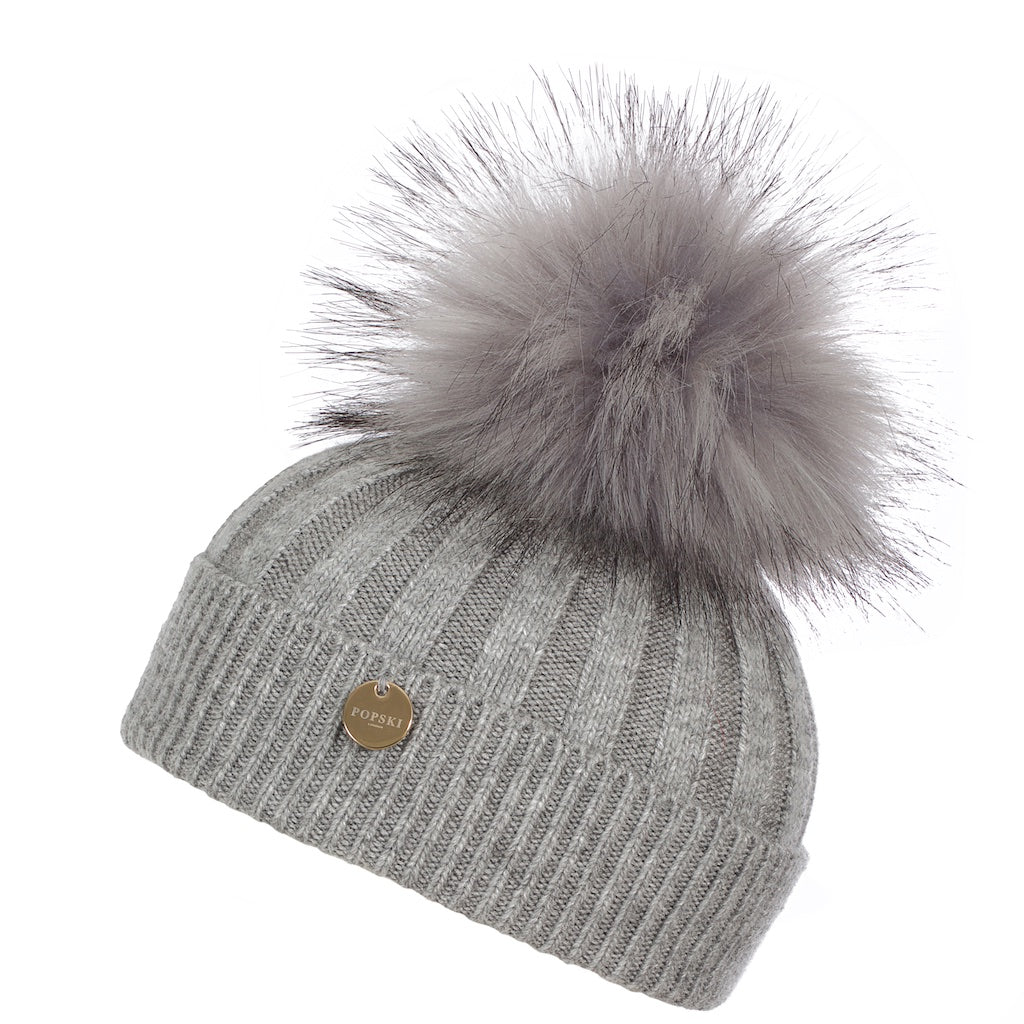 Mini Popski Angora Whisper Grey Faux Fur Pom Pom Hat
