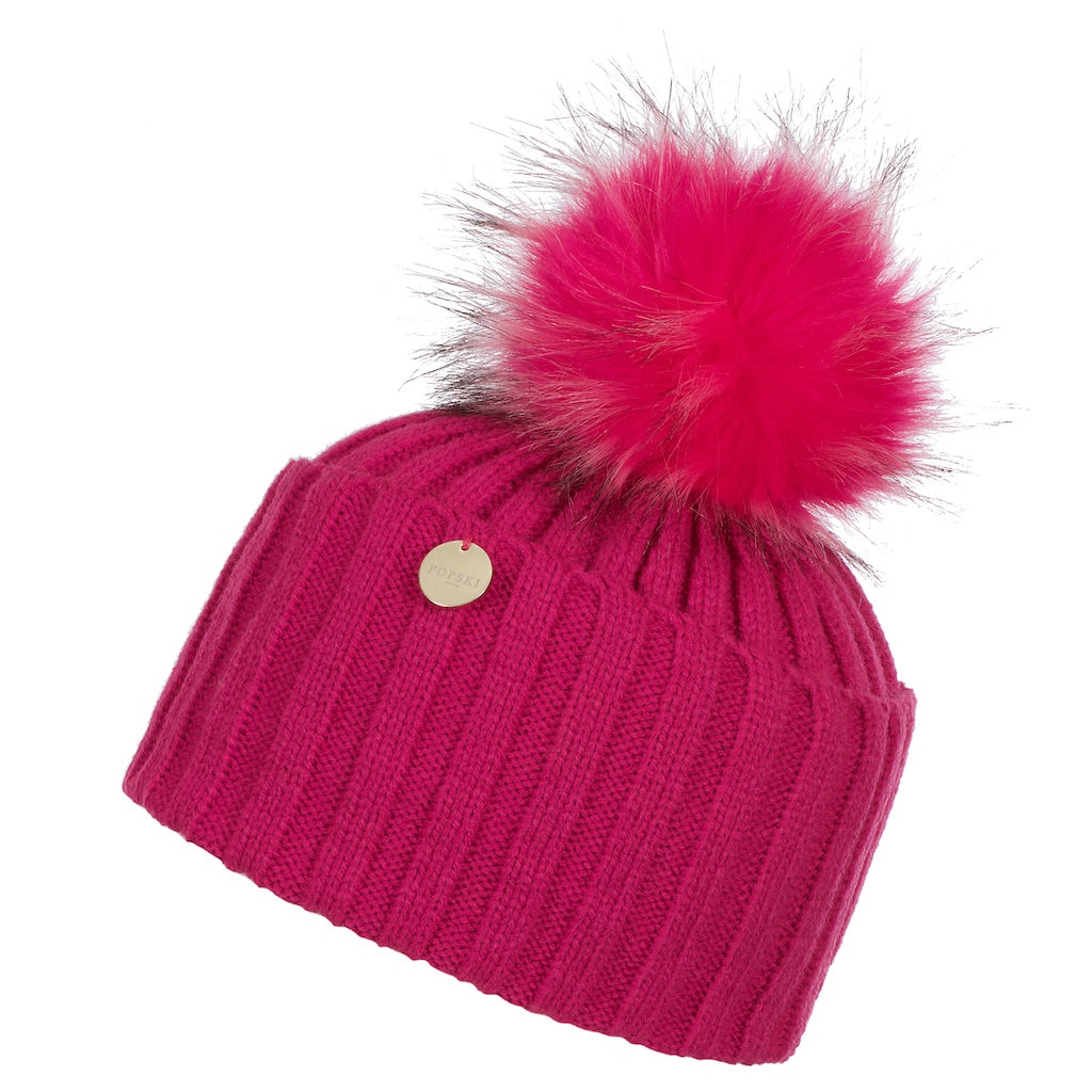 Faux Fur Pom Pom Hat - Hot Pink