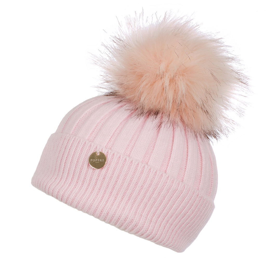 Baby Popski Angora Light Pink Faux Fur Pom Pom Hat