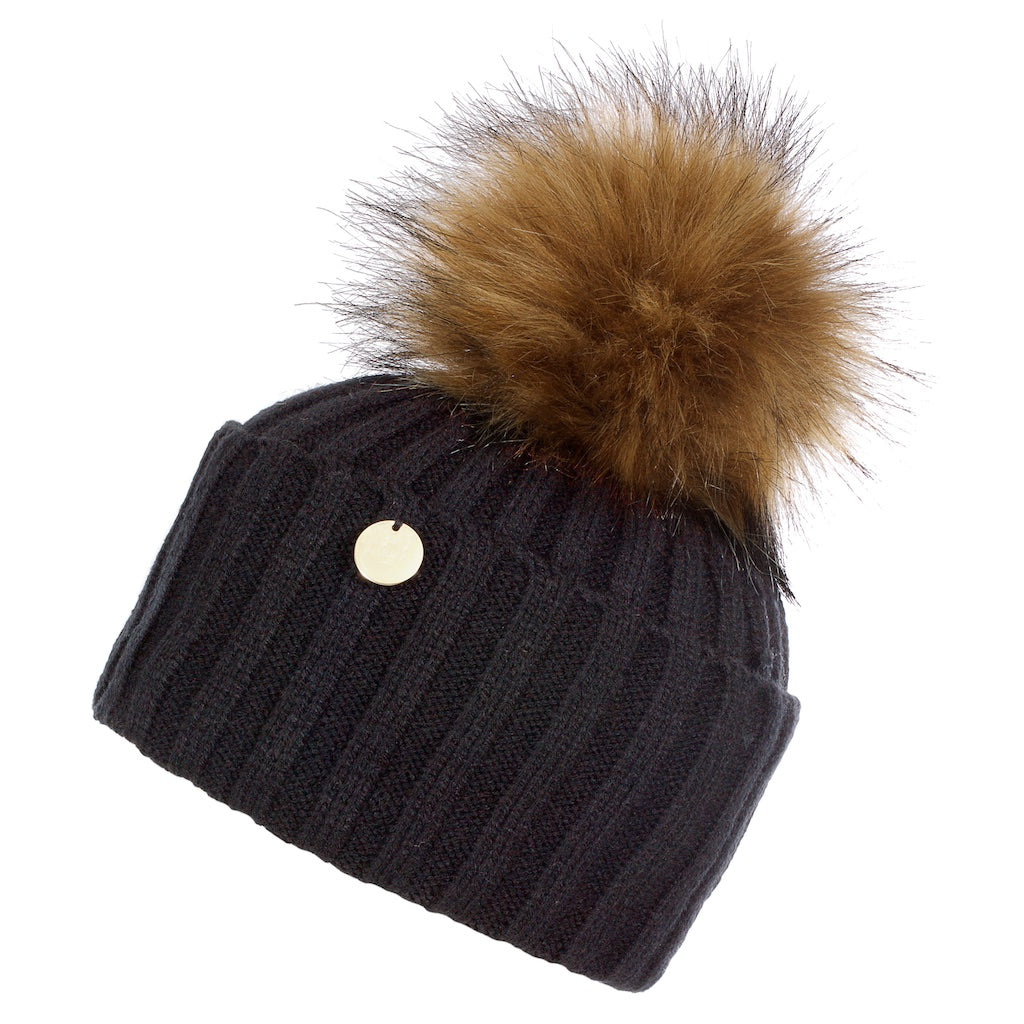 Faux Fur Pom Pom Hat - Black