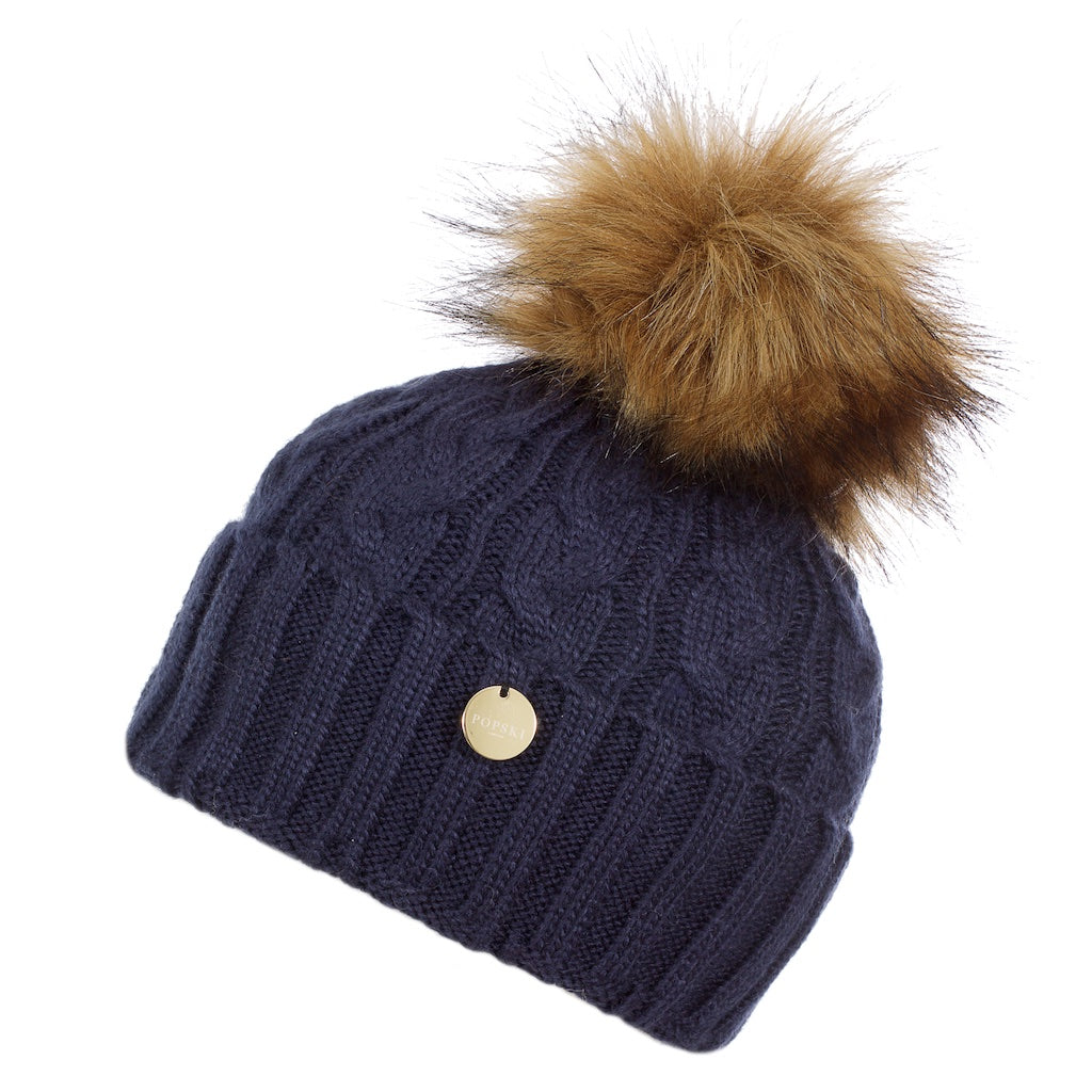 Navy Blue Cable Knit Fur Pom Pom Hat