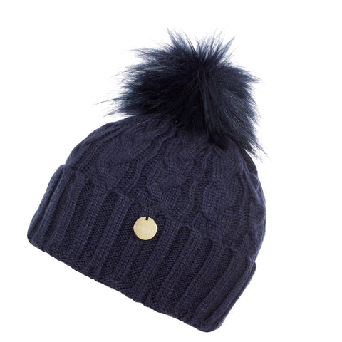 Navy Blue Cable Knit Faux Fur Pom Pom Hat
