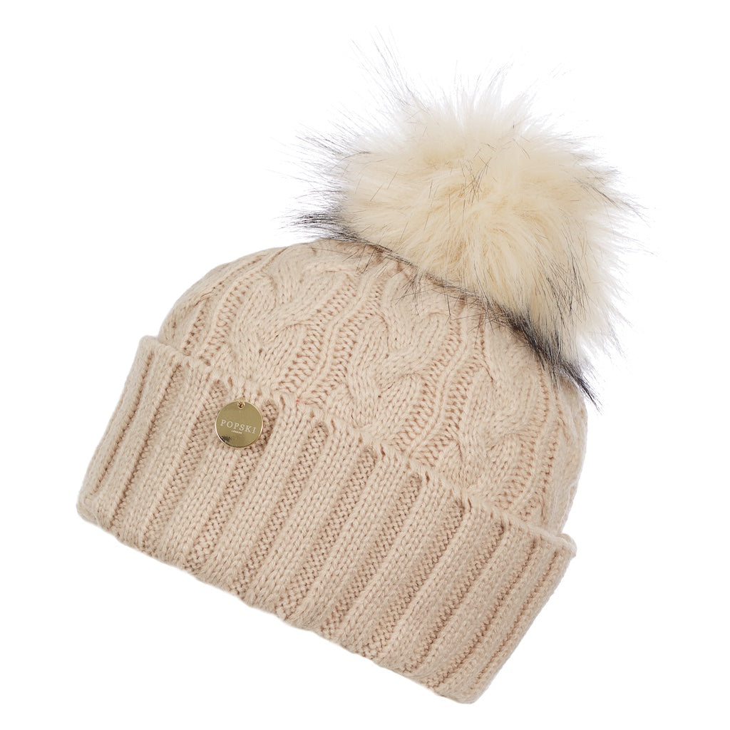 Soft Fawn Cable Knit Faux Fur Pom Pom Hat