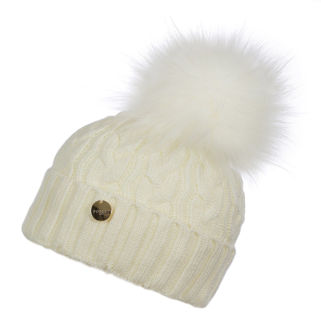 Snow White Cable Knit Faux Fur Pom Pom Hat