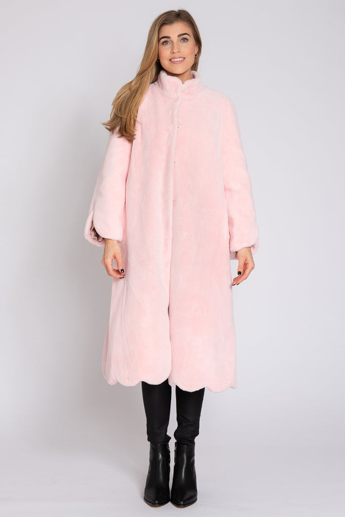 Scalloped Faux Fur Long Coat - Pink