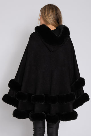 Faux Fur Trimmed Cape
