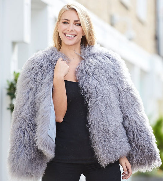 Sabrina Shearling Jacket in Dove Grey