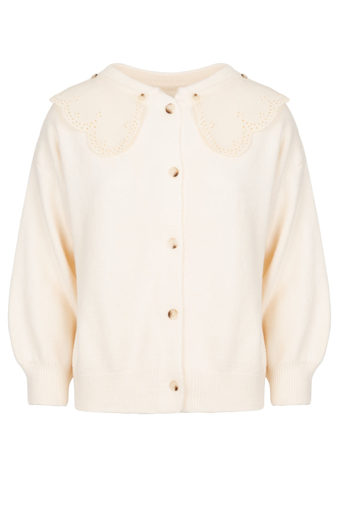 Cream Scalloped Collar Cardigan One Size