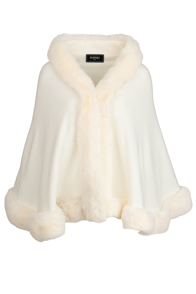 Faux Fur Trimmed Wrap