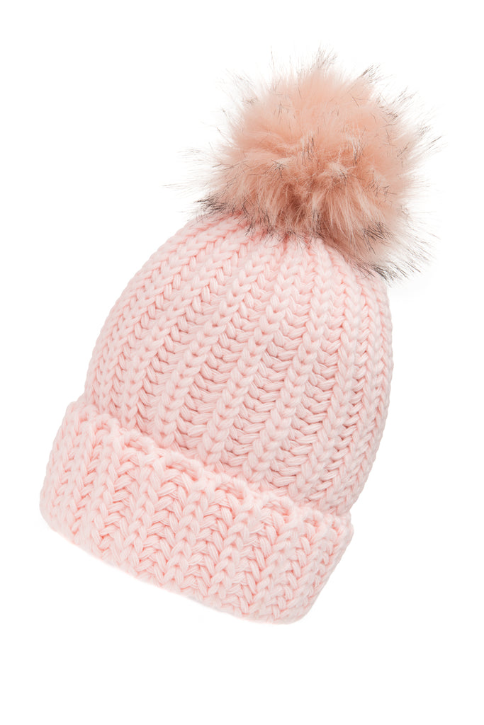 Woolly Faux Fur Pom Pom Hat