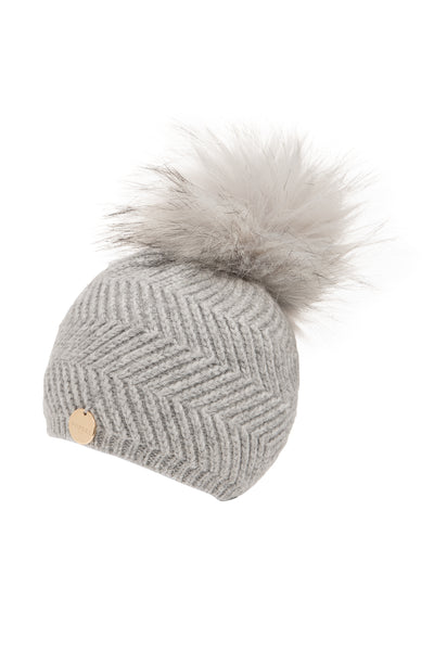 Baby Angora Patterned Whisper Grey Faux Fur Pom Pom Hat