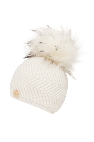 Baby Angora Patterned Frost Faux Fur Pom Pom Hat