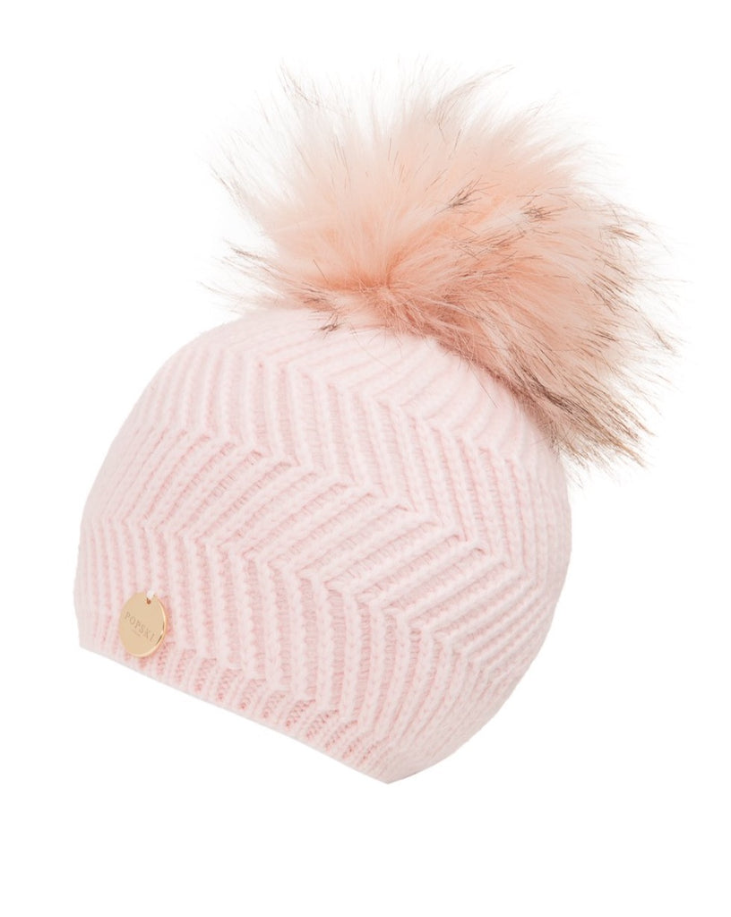 Baby Angora Patterned Pale Pink Faux Fur Pom Pom Hat