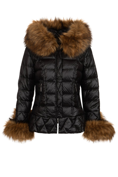 Knightsbridge Black Quilted Down Jacket with Natural Faux Fur Hood
