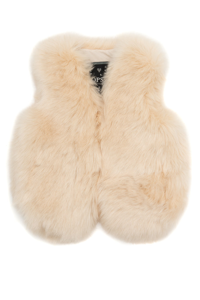 Mini Faux Fur Gilet - Light Beige