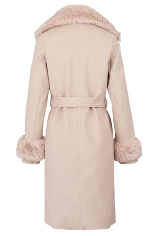 Soft Fawn Faux Fur Trim Coat
