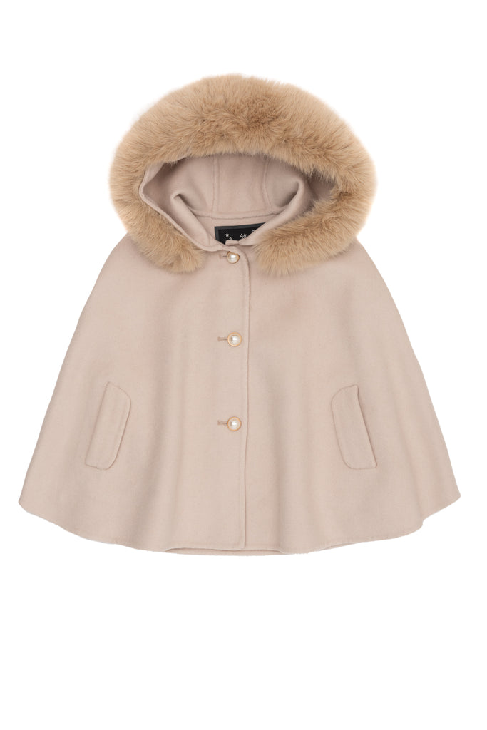 Mini Popski London Beige Faux Fur Cape