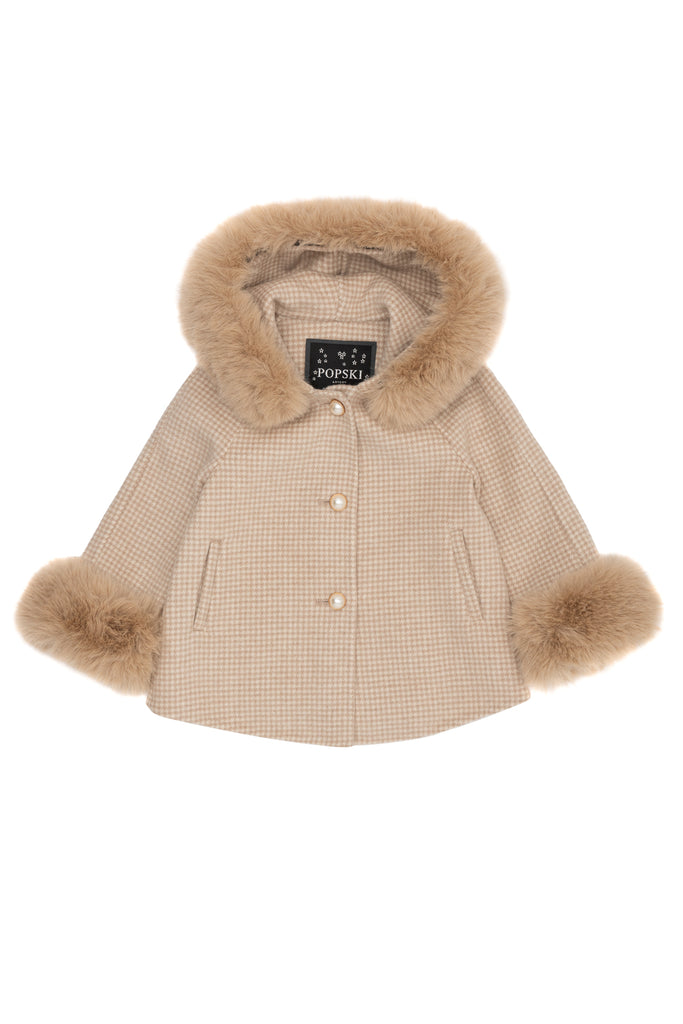 Mini Popski London Cashmere Beige Houndstooth Jacket with Faux Fur
