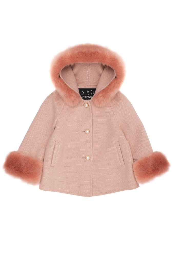Mini Popski London Cashmere Pink Herringbone Jacket with Faux Fur