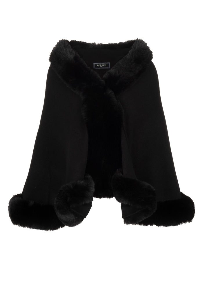 Faux Fur Trimmed Wrap Black
