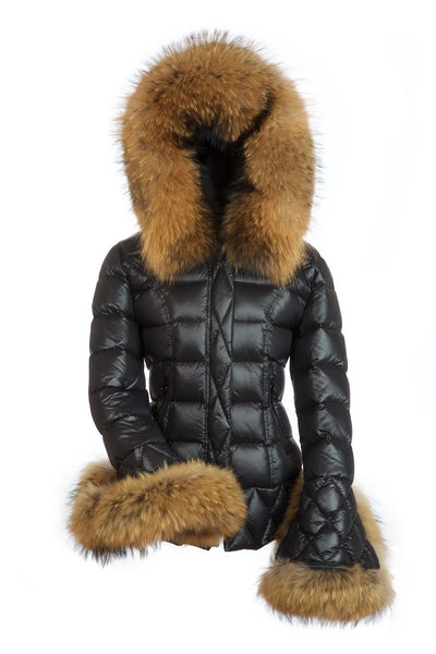 0e12fe164 Knightsbridge Black Quilted Down Jacket with Natural Raccoon Fur Hood