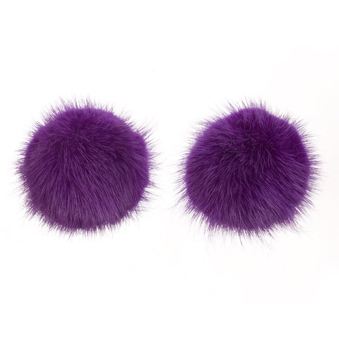 Mink Shoe Pom Poms - Purple