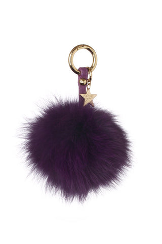 Fox Fur Pom Pom Keyring - Purple