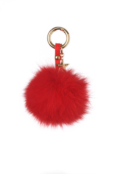 Fox Fur Pom Pom Keyring - Red
